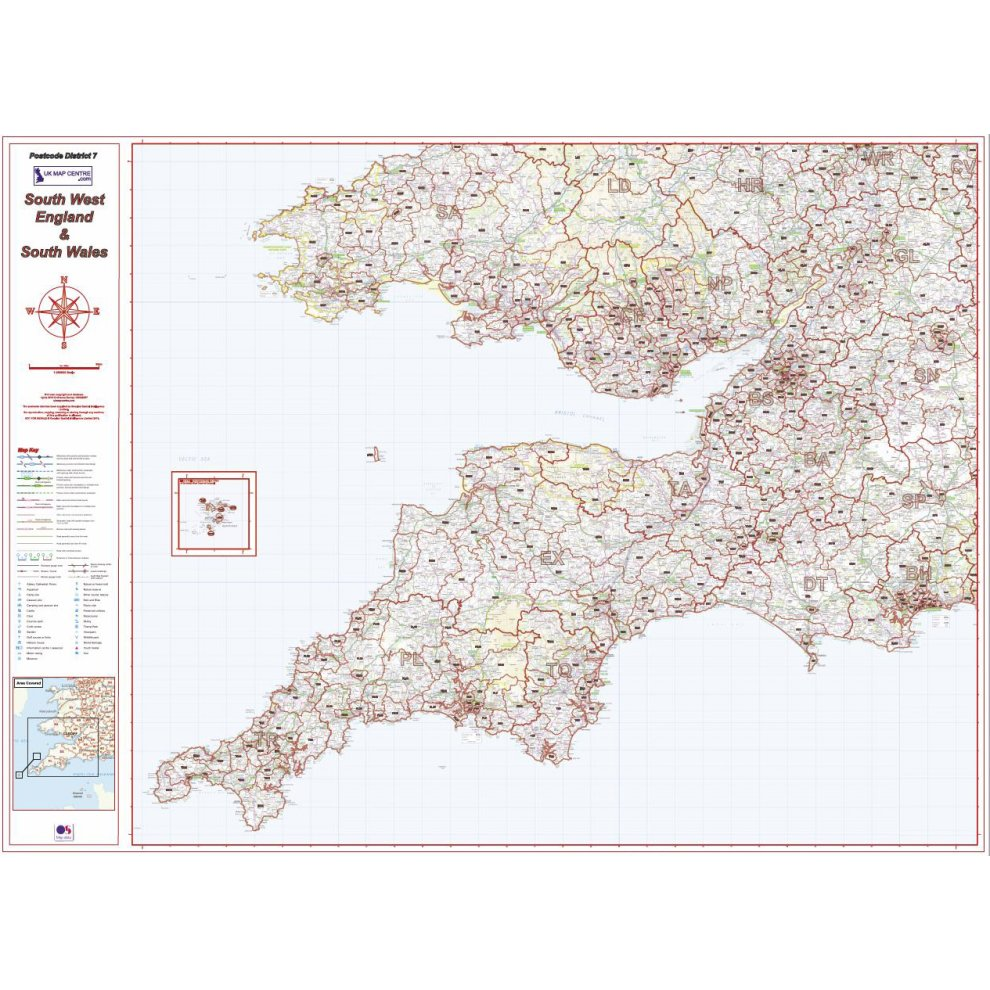 Map Of The South West Of England.Postcode District 7 Map South West England And South Wales On Onbuy