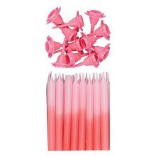 Pink Graduated Colour Candles with Holders