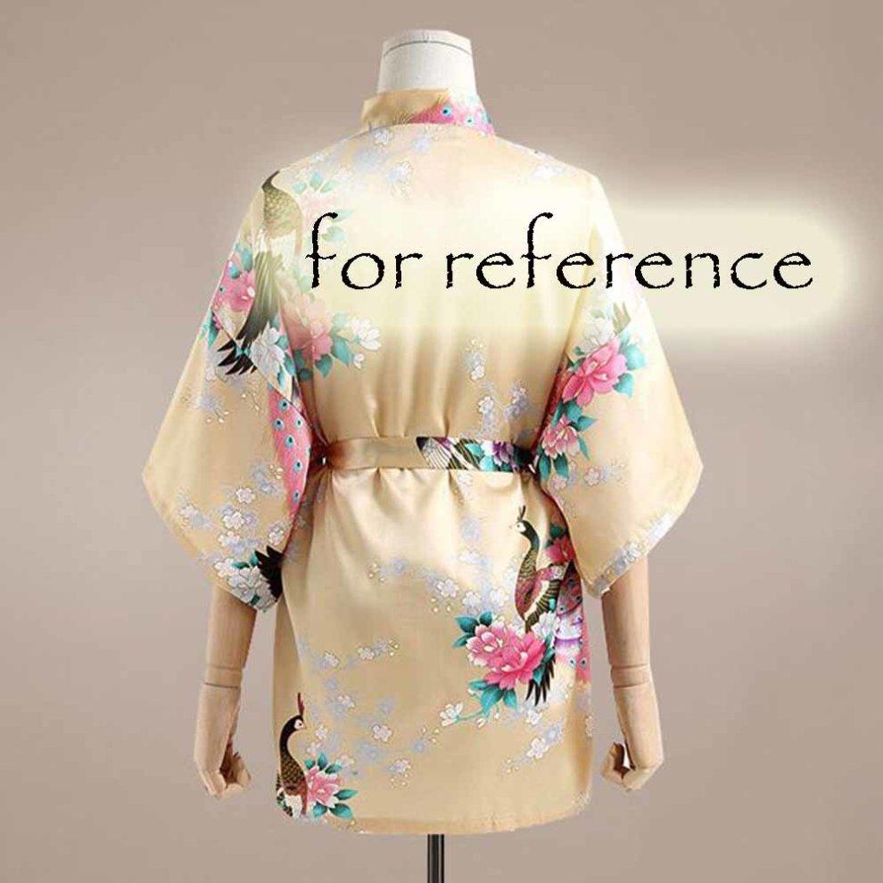 ... Turquoise -Women s Silk-like Pajamas Short Bathrobe Kimono Robe Peacock  Blossoms - 1.   e2673c49e