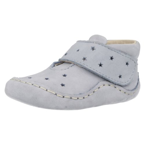 Baby Boys Clarks Pram Shoes Baby Pie - Blue Nubuck - 0-3 Months Baby - Small