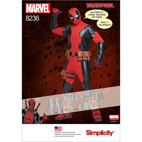 SIMPLICITY MEN'S DEADPOOL COSTUMES-XS-S-M-L-XL