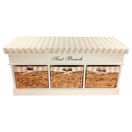 Wood Storage Bench Seat With 3 Baskets & Cushion 105cm Striped Cushion White