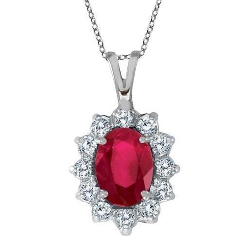 Prong Set 8.50 Carats Ruby & Diamonds Pendant Necklace White Gold