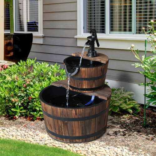 Outsunny Wooden Water Pump Fountain Cascading Feature Barrel Garden Deck (2 Tier)