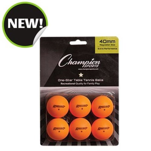 Champion Sports 1STAR6OR 8 x 5.75 x 1.5 in. 1 Star Table Tennis, Orange - 6 per Pack