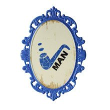 Decorative Wall Hanging Wall Accent Wall Door Hanging Plaques Man Blue Sign
