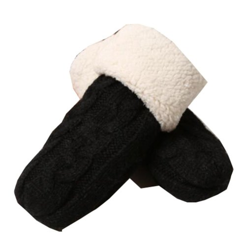 Black Warm Velvet Gloves Children Winter Thicken Mittens (4-8 Years)