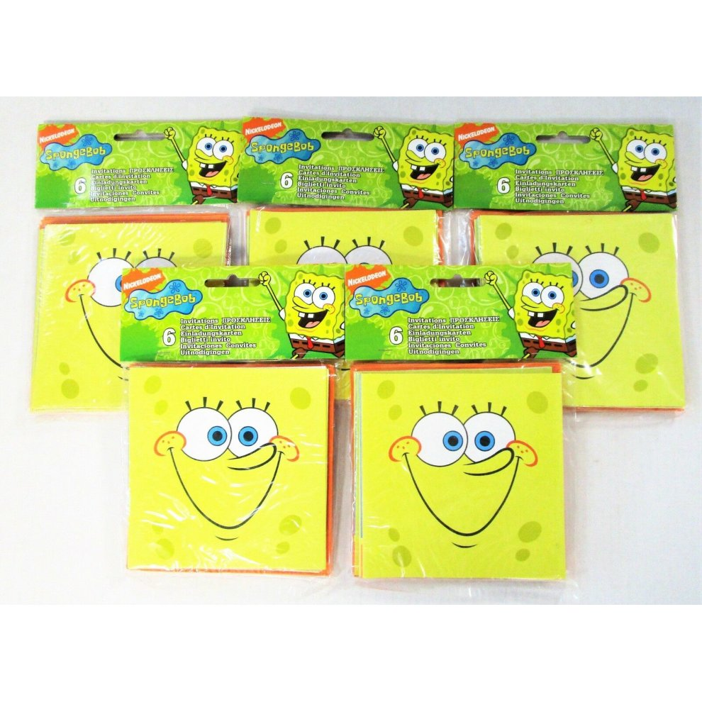 Pack Of 30 Spongebob SquarePants Party Invitations With Envelopes