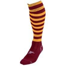 Mens Size Maroon Amber Hooped Football Socks - Precision Training Pro -  mens size maroon amber hooped football socks precision training pro