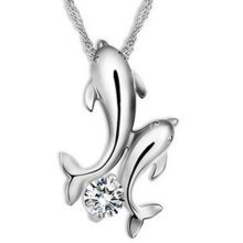 Silver Coloured Dolphin CZ Crystal Pendant Necklace