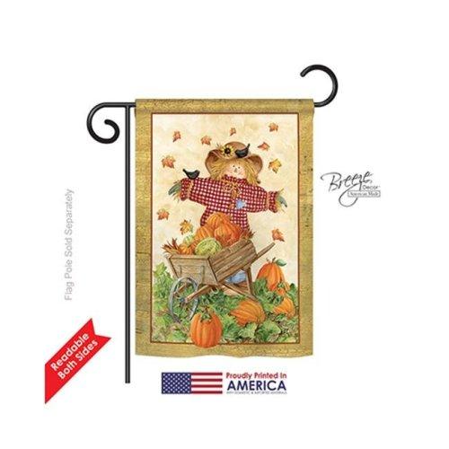 Breeze Decor 63043 Harvest & Autumn Scarecrow 2-Sided Impression Garden Flag - 13 x 18.5 in.