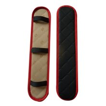 Leather Center Console Armrest Cover Black And Red