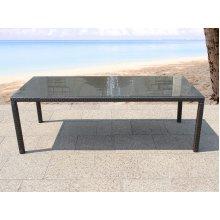 Rattan Garden Dining Table - Wicker Outdoor - Glass Top 220 cm -  ITALY