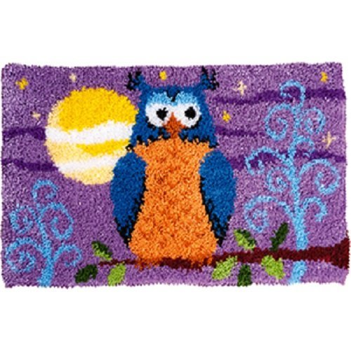 """Latch Hook Rug Kit""""Owl on a Branch at Night"""" 52x38cm"""