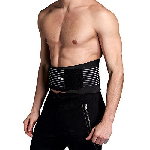 Cotill Lower Back Support Belt - Lumbar Support Brace for Pain Relief and Injury Prevention - Dual Adjustable Straps and Breathable Mesh Panels (L/XL)