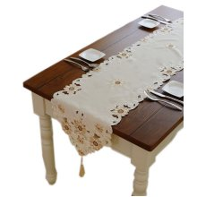 Delicate Gold Floral Embroidery Damask Table Runner 15.5*75.5 Inches