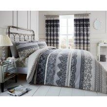 Reverie grey cotton blend duvet cover bedding set