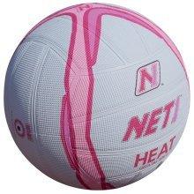 Size 4 White & Pink Net1 Heat Netball - Net1 White And Pink Heat Netball Indoor Or Outdoor Techni Grip Ball 4