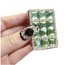 Rechargeable Lighter Stylish Rhinestone Windproof Cigarette Lighters with USB, #01