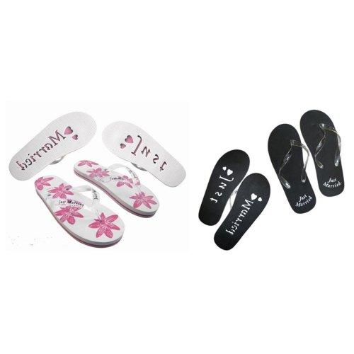 X45X49A Just Married Honeymoon Pair of Flip Flops Ladies UK 6-8 & Mens UK 11-13