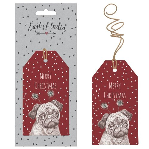 East Of India Red Spotty Merry Christmas Gift Tags With A Pug x 6