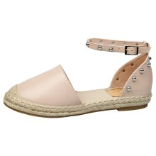 Andrea Womens Flat Studded Ankle Strap Espadrilles