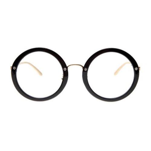 Retro Round Glasses Frames Fashion Flat Glasses -Black