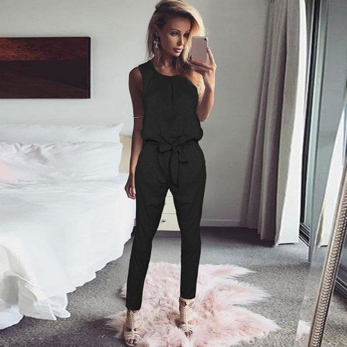 Alishebuy Jumpsuit Women Rompers 2017 Bodysuit Bodie Round Neck Elastic High Waist Belted Zipper Sleeveless Solid Jumpsuits Body