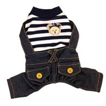 Striped Four Legged Puppies Dressed Spring Summer Clothing [Black]