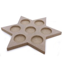 22cm Star Shaped Wooden MDF Tea Light Holder For 7 Tea Lights