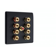 Matt Black Slimline 4.1 Speaker Wall Plate 8 Terminals + RCA Phono Socket - No Soldering Required