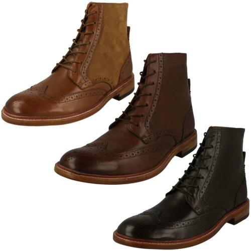 Mens Clarks Lace Up Brogue Boots James Hi - G Fit