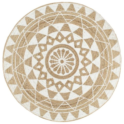 vidaXL Handmade Rug Jute with White Print 120cm Room Floor Protector Carpet