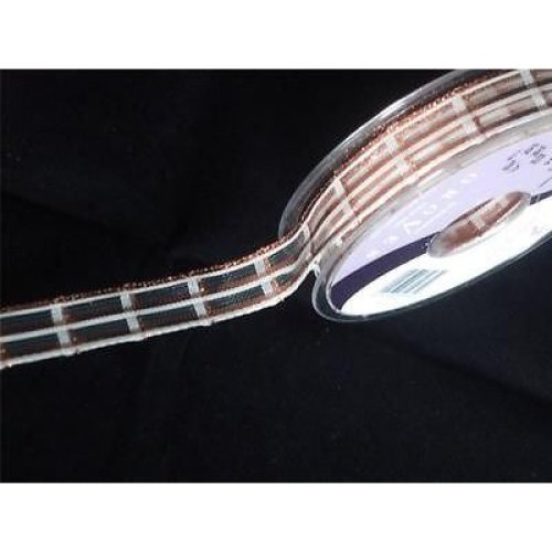 2m of Berisfords Glitter Stripe Bronze  Ribbon - 15mm wide