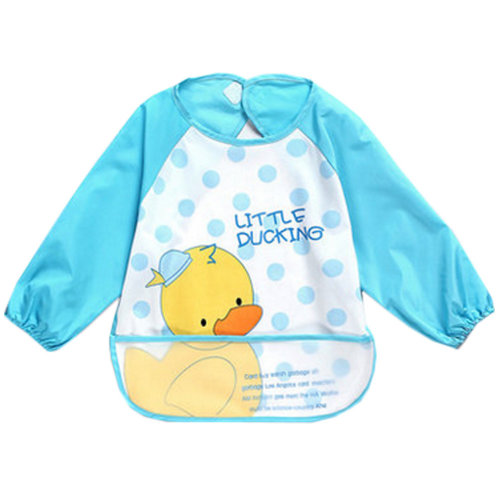Lovely Duck Waterproof Baby Feeding Clothes Long-sleeved Baby Bibs