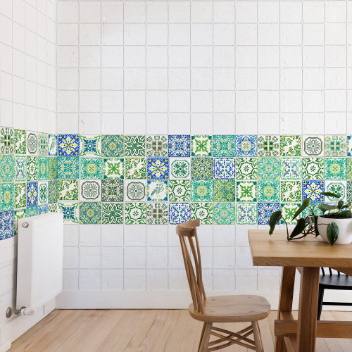 Walplus Tile Turkish Green Wall Sticker Decal (Size: 10m x 10cm @ 24pcs)
