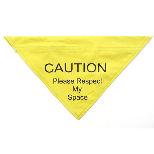 Warning Bandana Respect My Space Yellow Small/medium 10cm
