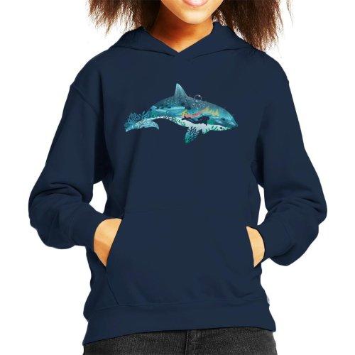 Dolphin Scuba Diver Silhouette Kid's Hooded Sweatshirt