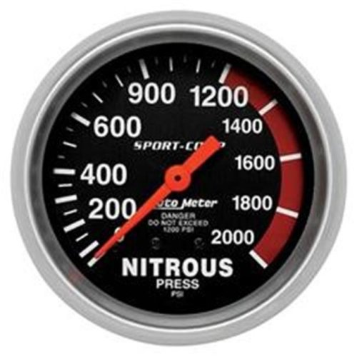 AUTO METER 3428 2.62 In. Sport-Comp Nitrous Pressure 0-2,000 Psi