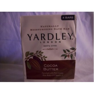 Yardley London Naturally Moisturizing Bath Bar, Coca Butter, 4 Count - 1 Pack
