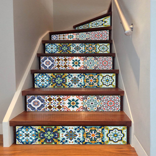 6pc Bohemian Tile Decals | Retro Stair & Wall Stickers
