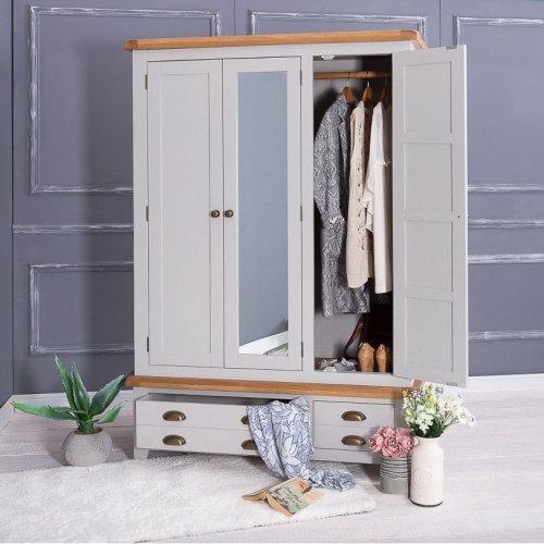 Hampshire Grey Painted Oak Triple Wardrobe
