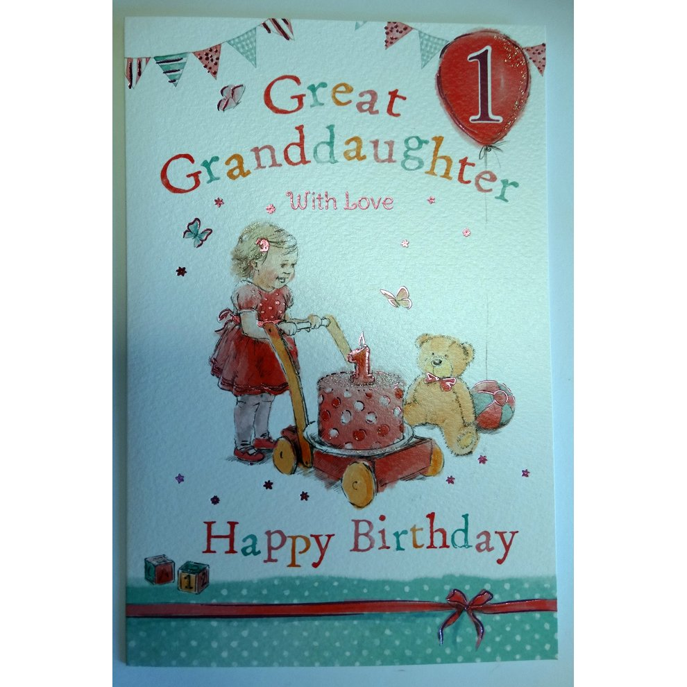 Great Granddaughter 1st 1 Today Happy Birthday Card With A Lovely Verse On OnBuy