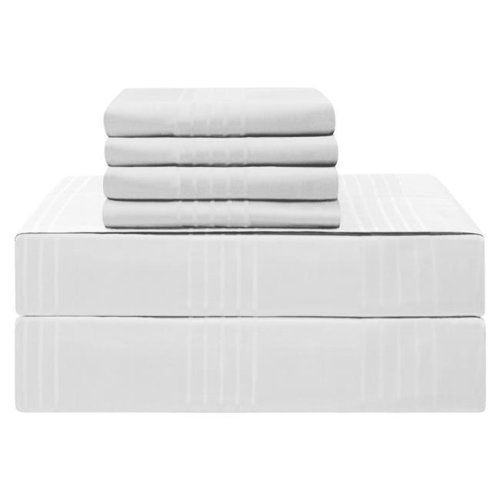 Jean Pierre YMS008211 Premium 420 Thread Count 100 Percent Cotton Sheet Set, White - King - 6 Piece