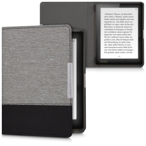 kwmobile Case for Kobo Aura Edition 1 - PU Leather and Canvas Protective e-Reader Cover Folio Case - Grey Black