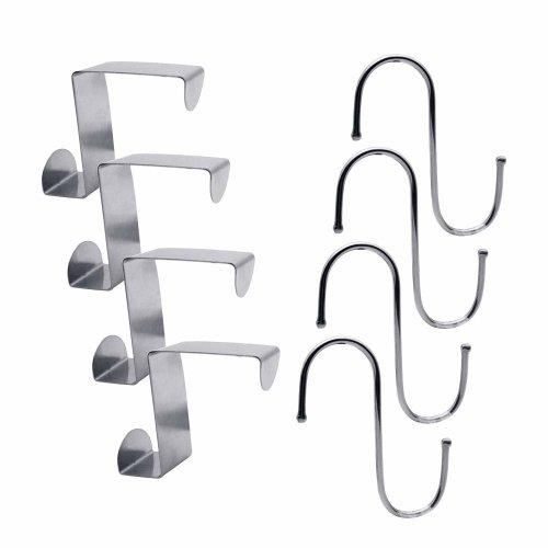 Pazi 4 Over Door Hooks Fit 4.5cm Door,2cm Drawer Cupboard and 4 S-Shaped Hanging Hooks 3cm Diameter