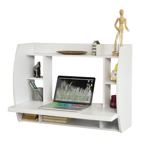 SoBuy FWT18-W Wall-Mounted Desk | Computer Desk With Storage Shelves