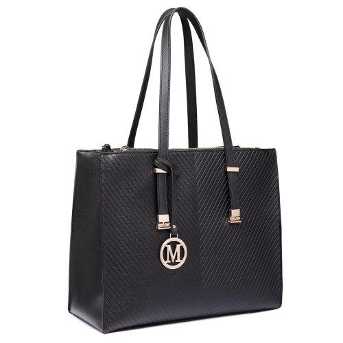 Miss Lulu Women Adjustable Shoulder Handbag Leather Tote Bag Black
