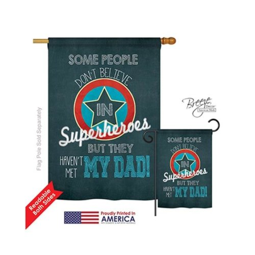 Breeze Decor 15104 Superhero Dad 2-Sided Vertical Impression House Flag - 28 x 40 in.