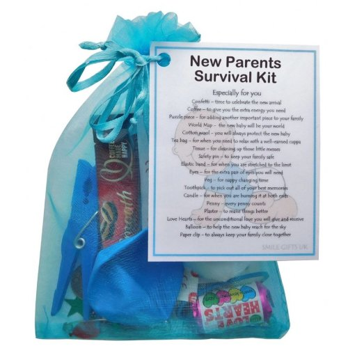 New Parents Survival Kit (Blue) - A sweet gift for parents-to-be / baby shower